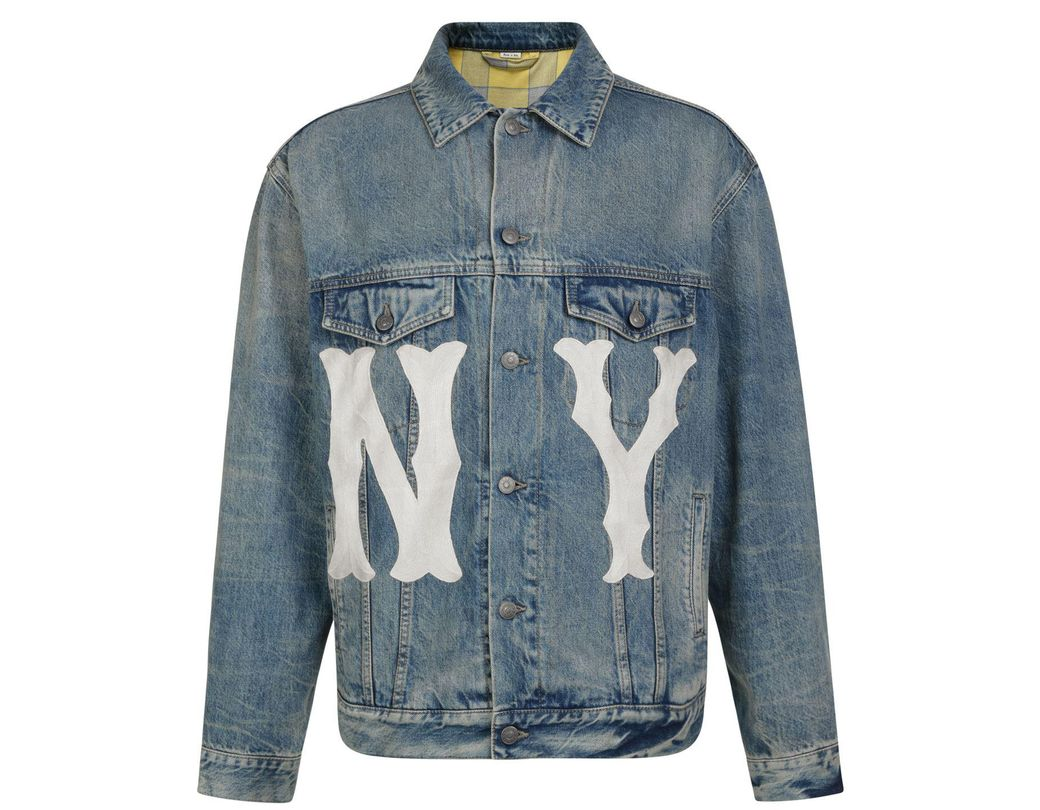 680105c59b8 Gucci Ny Yankees Denim Jacket in Blue for Men - Lyst