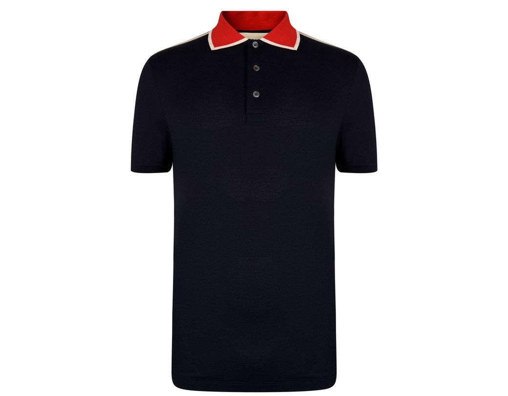 e5d761bc490 Gucci Ribbon Polo Shirt in Blue for Men - Lyst