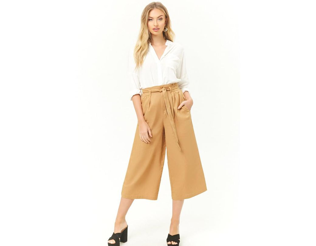 c9f69002d7 Forever 21 Linen-blend Cropped Wide-leg Pants in Natural - Lyst