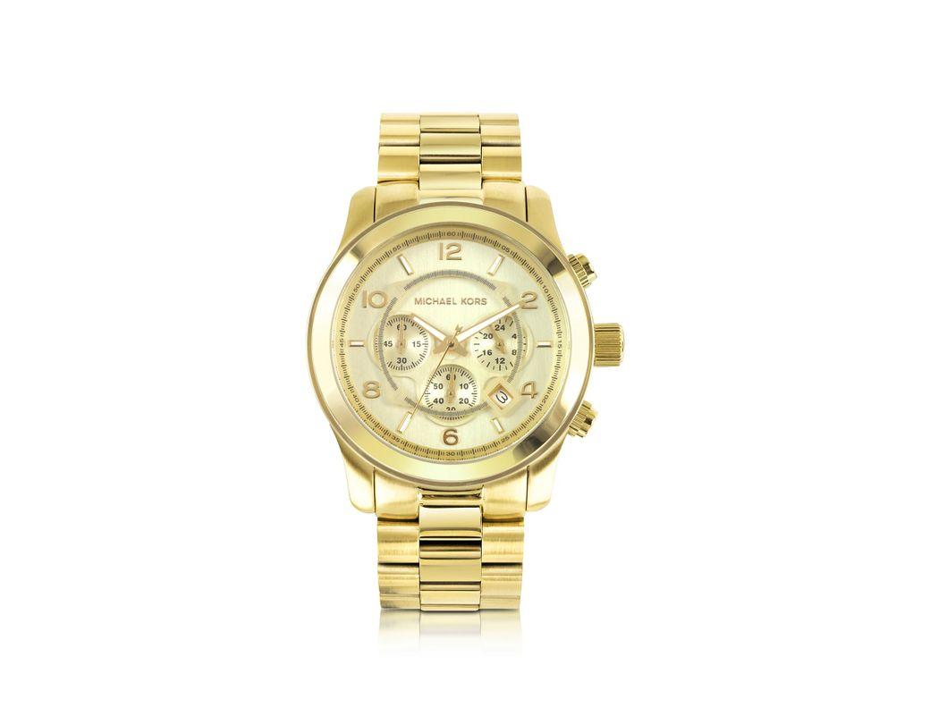 d0c826d62356 Lyst - Michael Kors Men s Runway Gold-tone Stainless Steel Bracelet Watch  in Metallic for Men