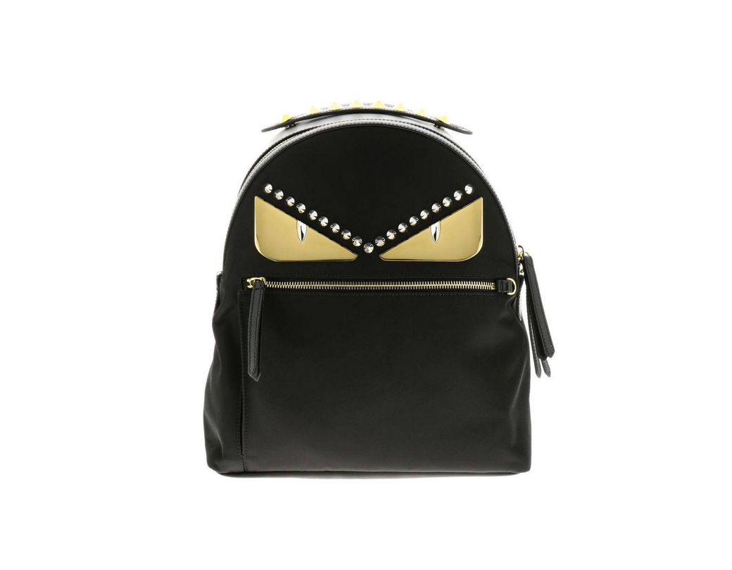 8dee61256b85 Fendi. Women s Black Monster Eyes Nylon And Leather Backpack With Bag Bugs  ...