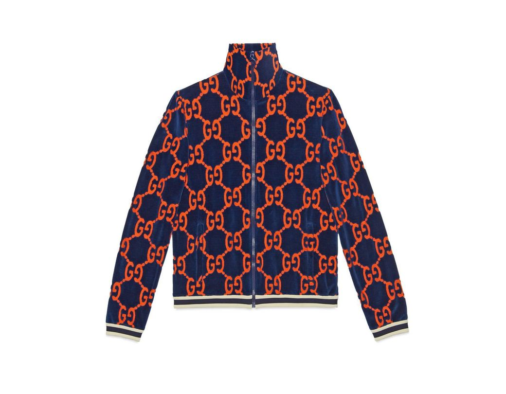 4876bb812ed Gucci GG Chenille Jacket in Blue for Men - Lyst