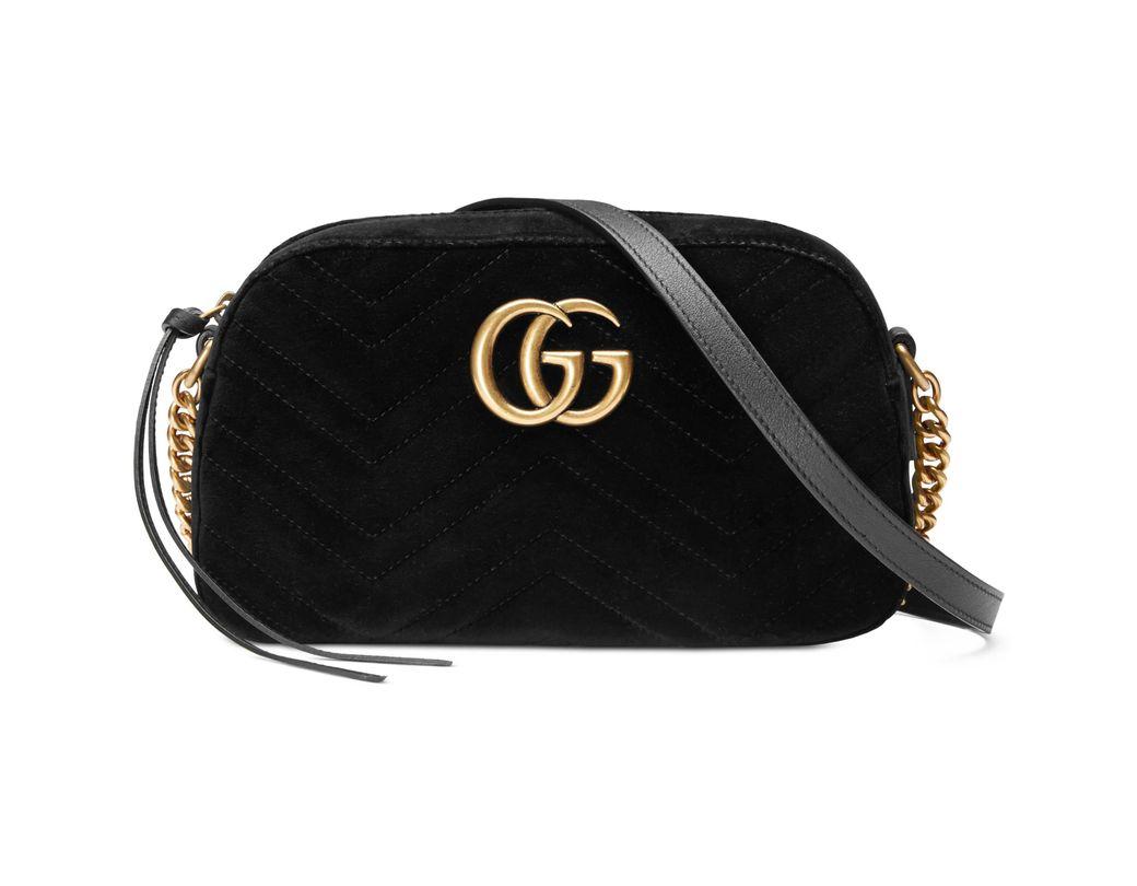 fbd3df0d89d Gucci Black GG Marmont Velvet Small Shoulder Bag in Black - Save 13 ...