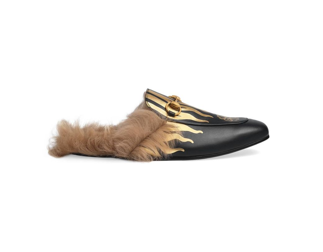 0d837c1107dd Lyst - Gucci Princetown Slipper With Flames in Black for Men
