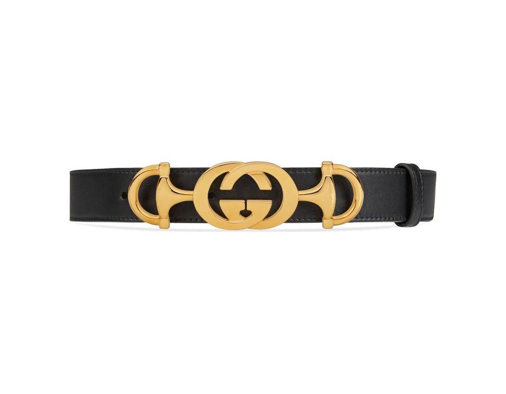 7130a0e64f3 Lyst - Gucci Leather Belt With Interlocking G Horsebit in Black ...