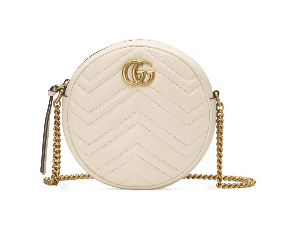 8cc8f0812d0 Long-Touch to Zoom. Long-Touch to Zoom. 1  2. Gucci - White Gg Marmont Mini  Round Shoulder Bag ...