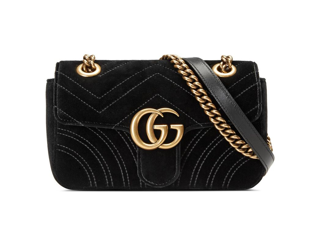 8a0a58fc462 Lyst - Gucci GG Marmont Velvet Mini Shoulder Bag in Black