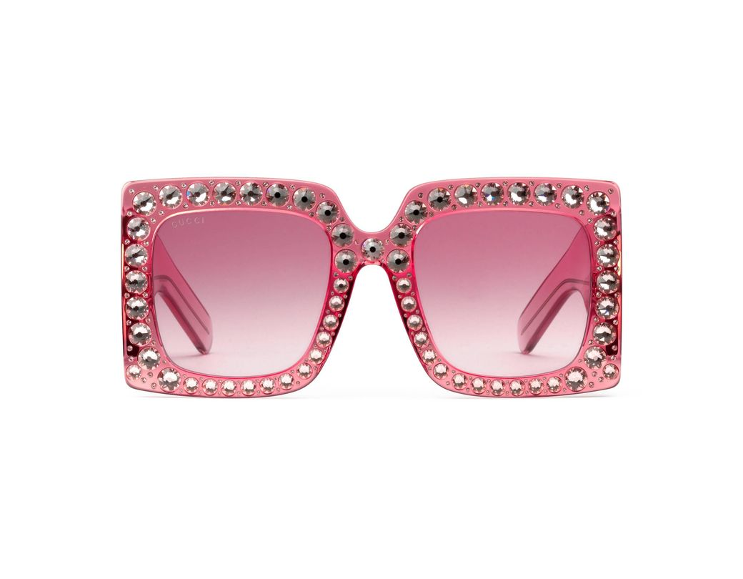 3182e6e597b Gucci Oversize Square-frame Sunglasses in Pink - Save 44% - Lyst