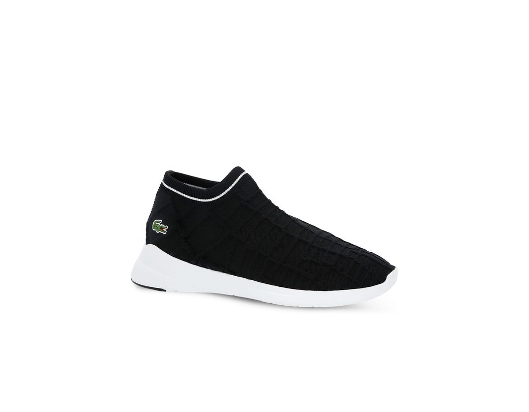 1b9fe7a74d72 Lyst - Lacoste Lt Fit Sock Sneakers With Green Croc in Black for Men