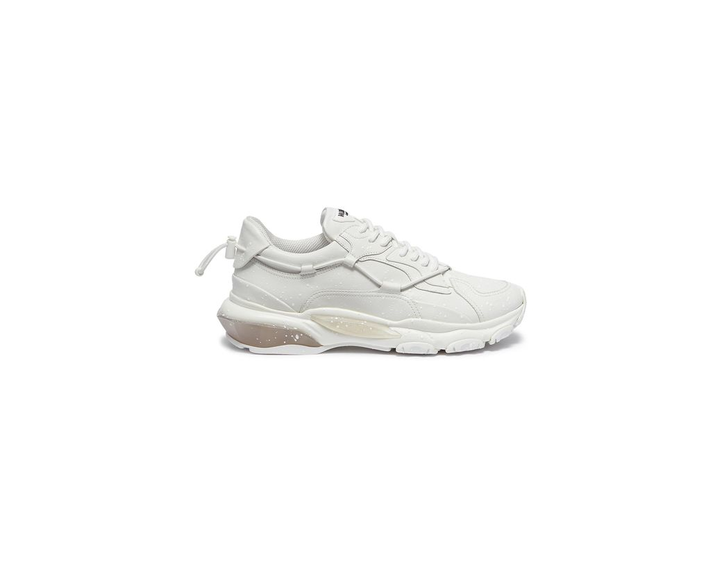 cb28b9e487ee9 Valentino. Men s White  bounce  Chunky Outsole Spray Painted Leather  Sneakers