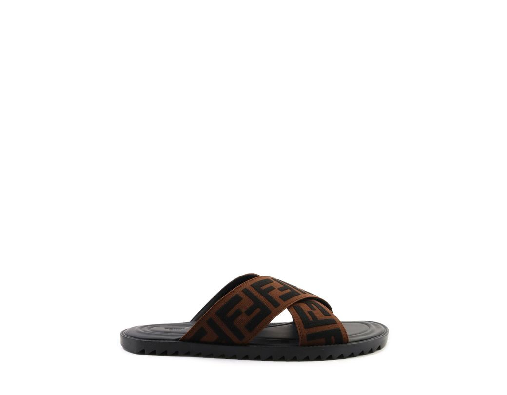 c857c6a0f Lyst - Fendi Jacquard Crossover Slides in Brown for Men - Save 18%