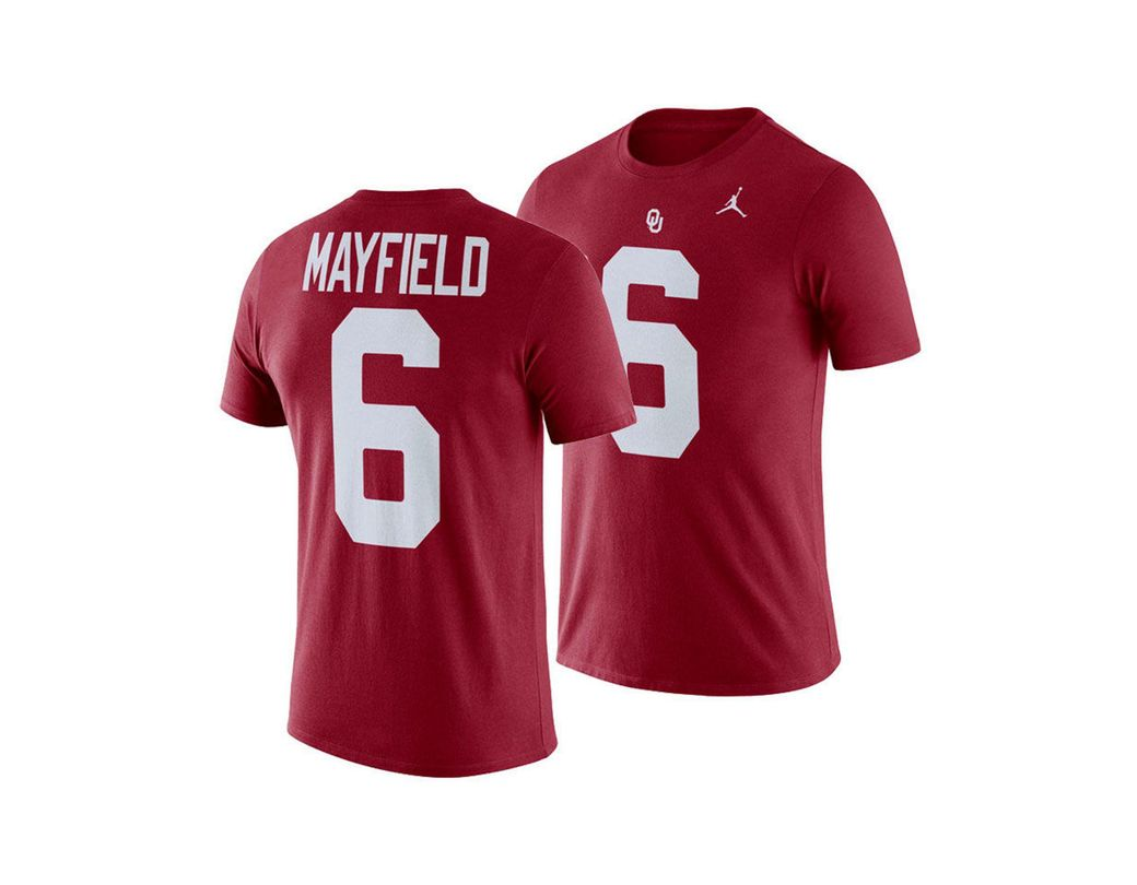 244af2b05f0 Nike. Men s Red Baker Mayfield Oklahoma Sooners Future Star Replica T-shirt