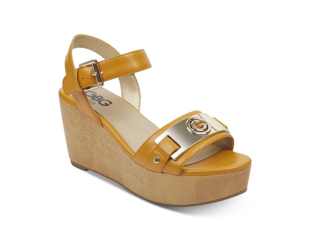 960a7926e Lyst - G by Guess Danna Platform Wedge Sandals in Yellow