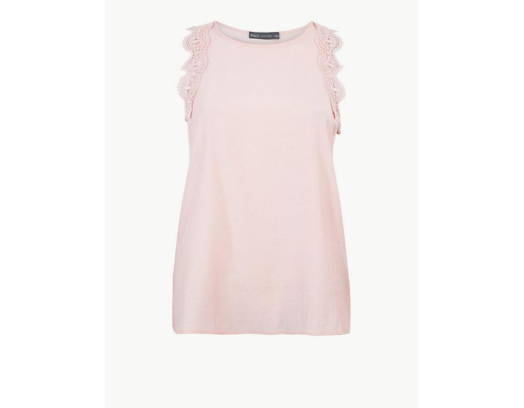 5c20c1a71b5642 Marks & Spencer Lace Regular Fit Vest Top in Pink - Lyst
