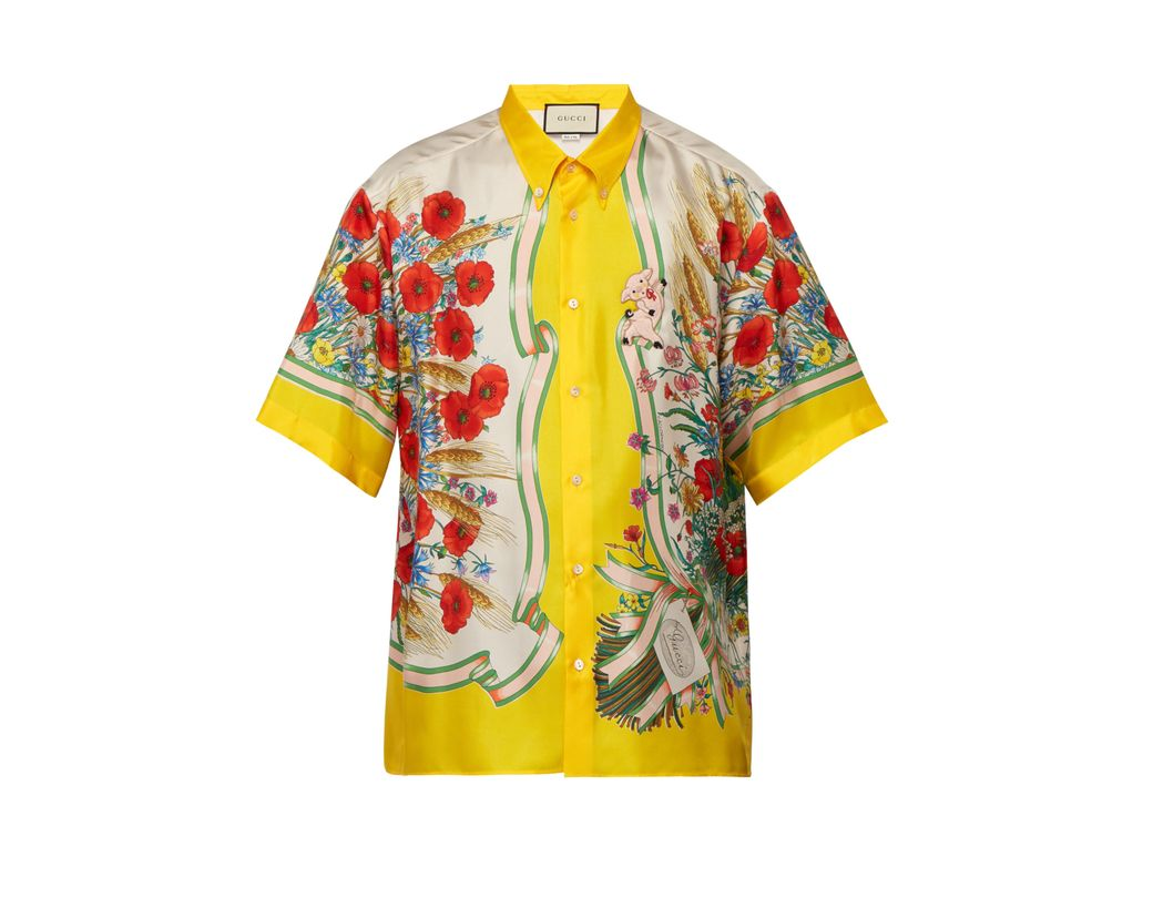 11ab84a238c Gucci Button-down Collar Embroidered And Printed Silk-satin Shirt in ...