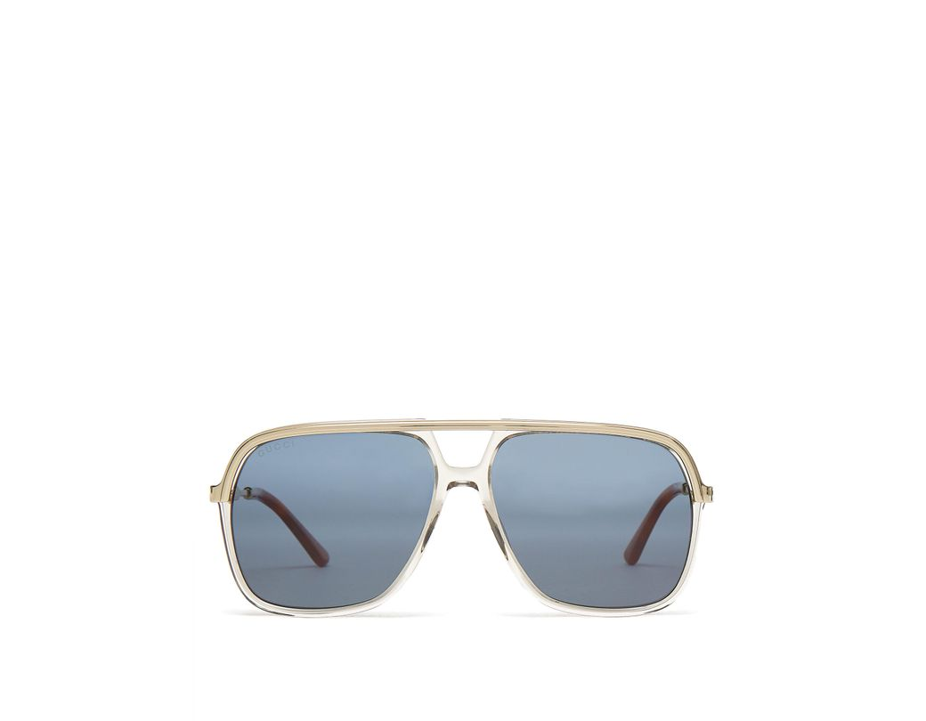 cc30fb69b5c Gucci Rectangular Frame Acetate And Metal Sunglasses in Brown for ...