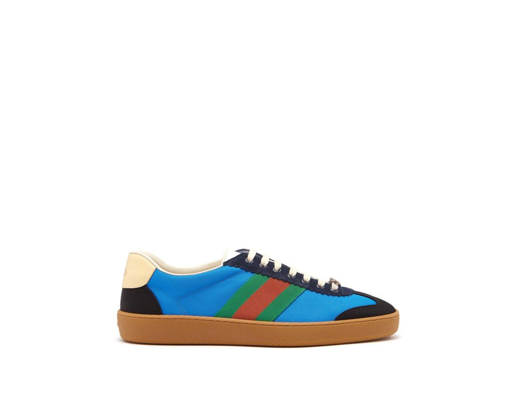 c92fa9cf83cd1 Lyst - Gucci Web Nylon And Suede Trainers in Blue for Men