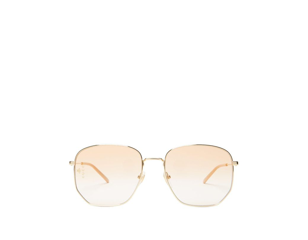 d10f24f60ba Lyst - Gucci Square Frame Metal Glasses in Metallic for Men