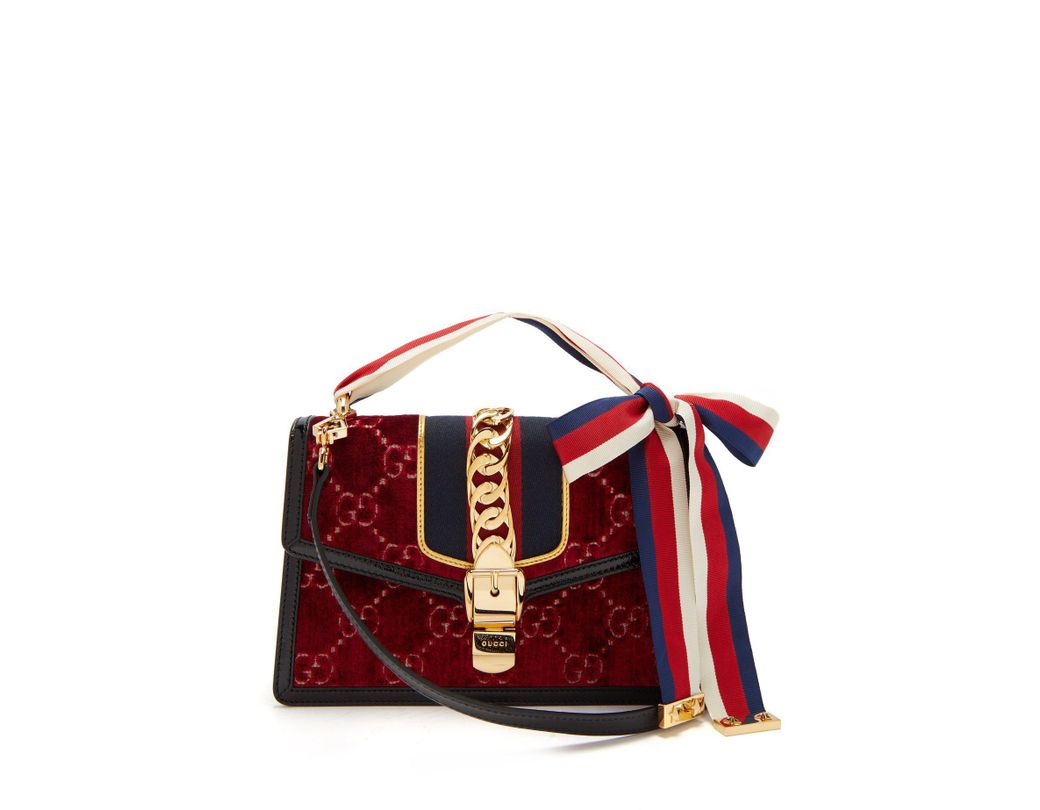 e2181756bfb Lyst - Gucci Sylvie Small Velvet Shoulder Bag in Red