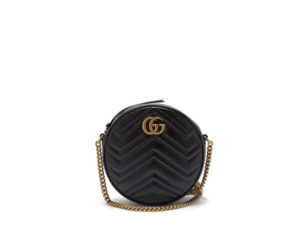 898672eb0e0 Lyst - Gucci Gg Marmont Circular Leather Cross Body Bag in Black ...