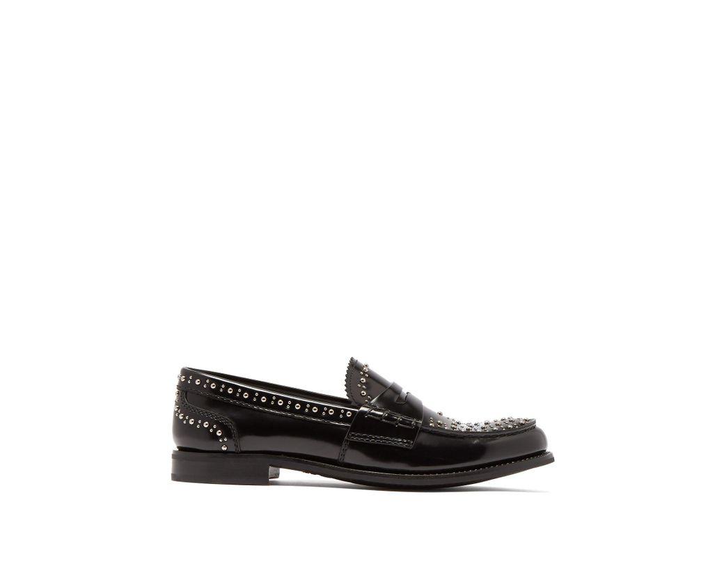 6f4f98da0 Lyst - Church's Pembrey Studded Penny Loafers in Black - Save 15%