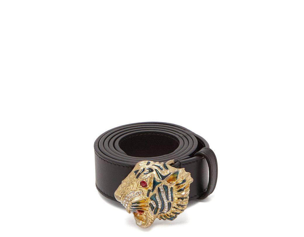 193ac47da77 Lyst - Gucci Tiger Embellished Leather Waist Belt in Black - Save 25%