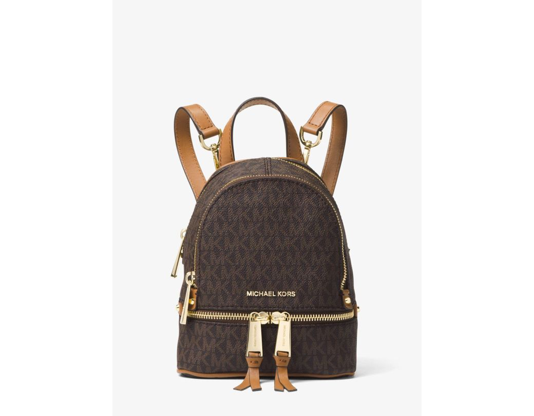 7f693332b0ed Long-Touch to Zoom. Long-Touch to Zoom. 1  2  3  4  5. Michael Kors - Brown  Rhea Mini Logo Backpack - Lyst ...