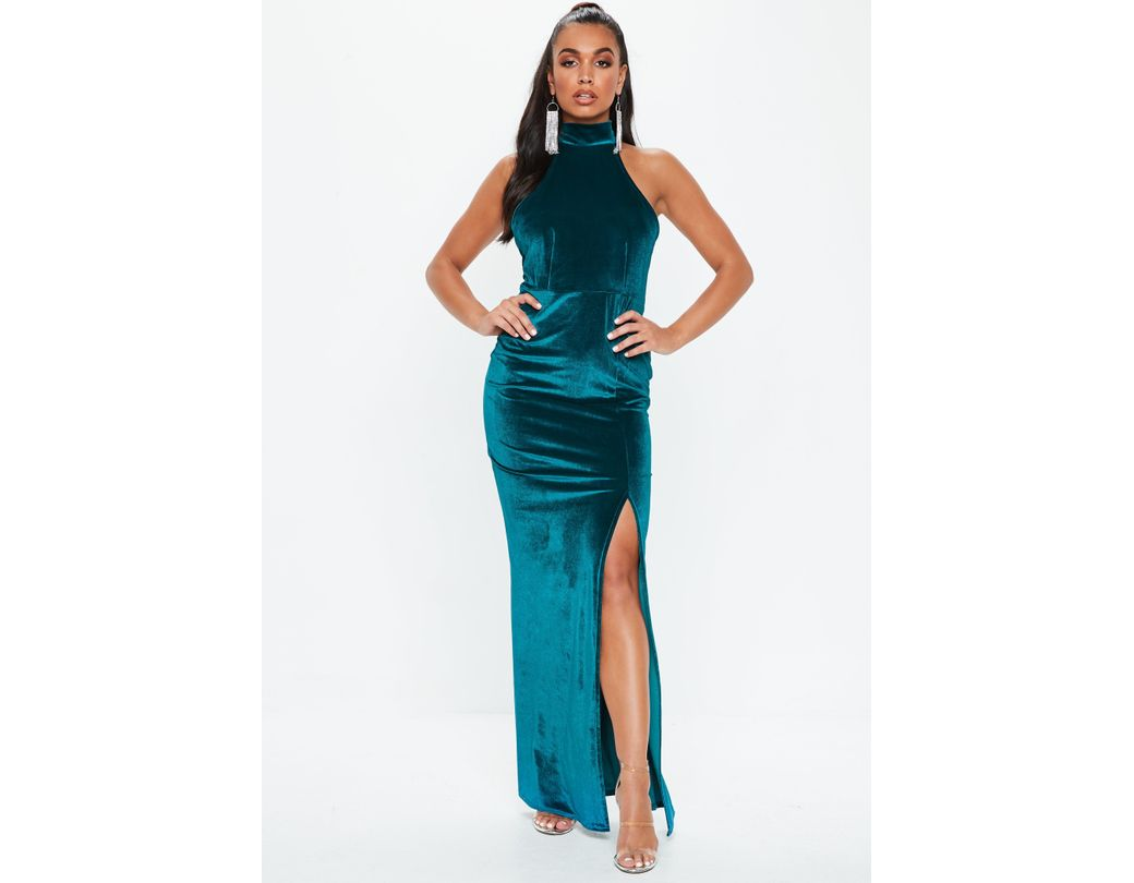84ca3ffbb11 Lyst - Missguided Teal Velvet Choker Maxi Dress in Blue