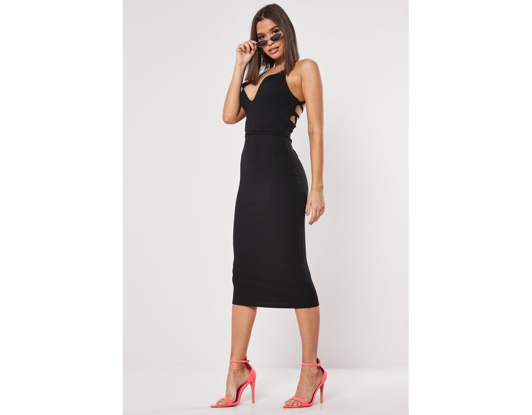 ff67a334f151fb Lyst - Missguided Black Ribbed Multiway Strap Midi Dress in Black