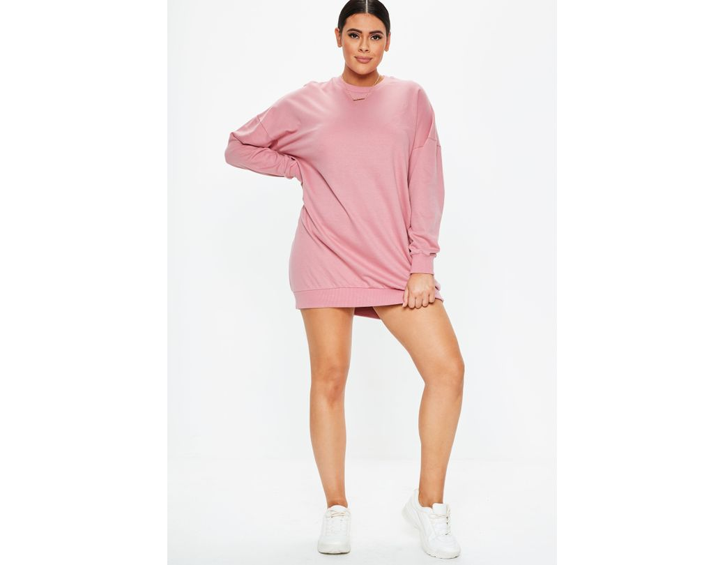 b42bdfe6394 Missguided Plus Size Pink Oversized Sweater Dress in Pink - Lyst