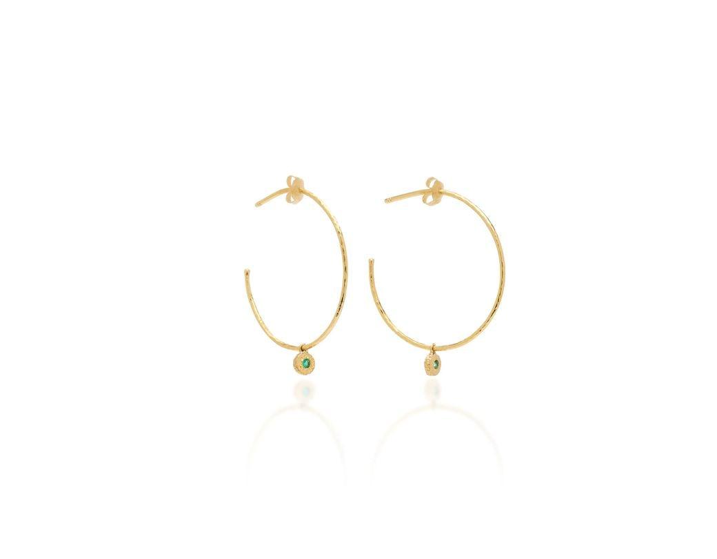 a3852782a Octavia Elizabeth. Women's Green Nesting Gem Emerald And 18k Gold Hoop  Earrings