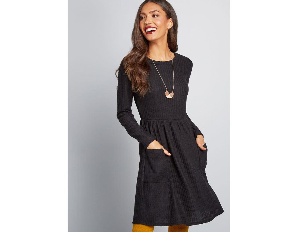 7a5837f07ff Lyst - ModCloth Pleased To Be Me Sweater Dress in Black