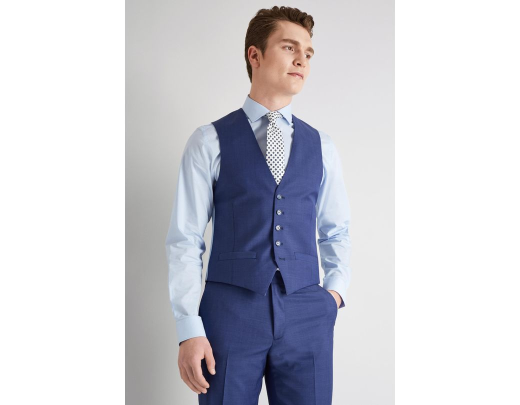 bac66f726 Lyst - Ted Baker Tailored Fit Iris Blue Twill Waistcoat in Blue for Men