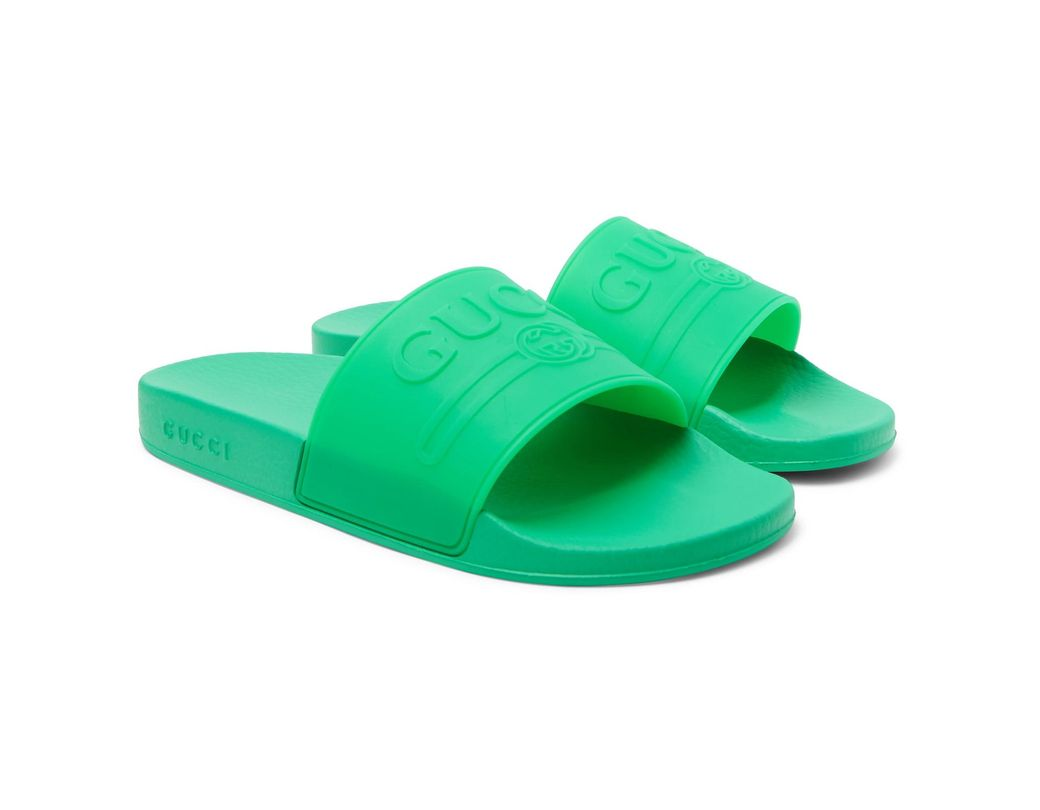 38f9801653f Gucci Rubber Slides in Green for Men - Save 32% - Lyst