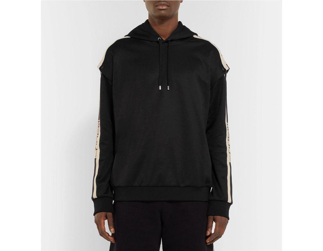 da9df15dd Gucci Webbing-trimmed Tech-jersey Hoodie in Black for Men - Save 12% - Lyst