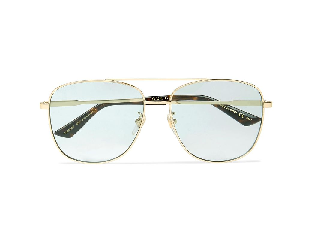 454f35b2ada Gucci Aviator-style Gold-tone And Acetate Sunglasses in Metallic for ...