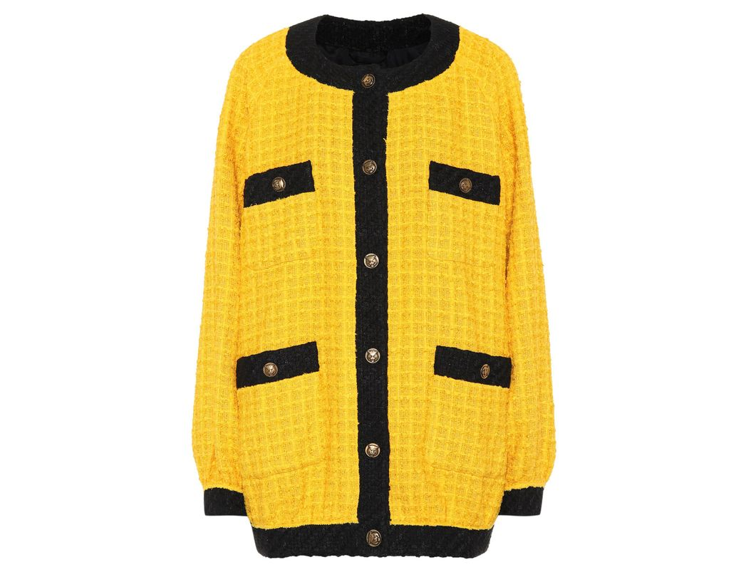f742e3837 Gucci Oversized Tweed Cardigan in Yellow - Lyst