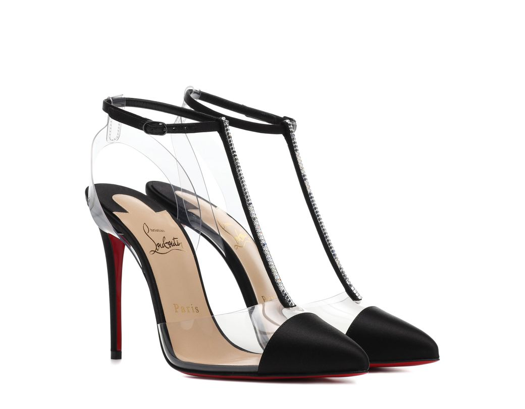 2634c3974dbf Lyst - Christian Louboutin Nosy Strass Satin Heels in Black - Save 9%