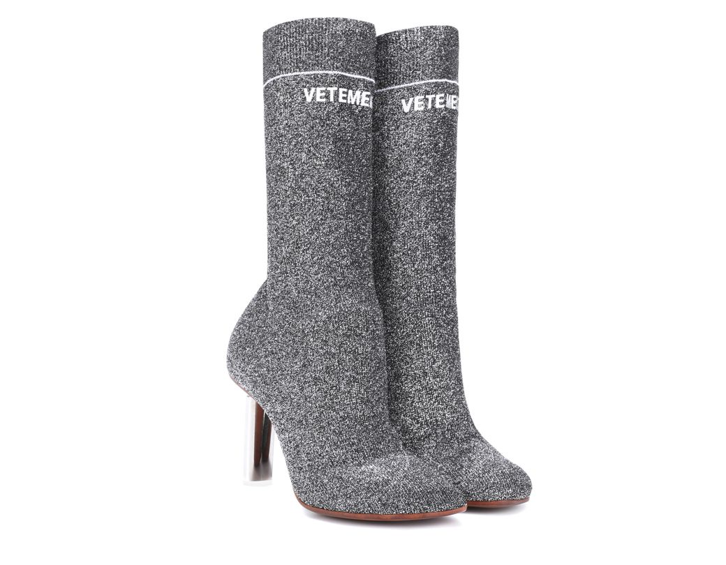 1af5a6713 Lyst - Vetements Lighter-heel Sock Ankle Boots in Metallic