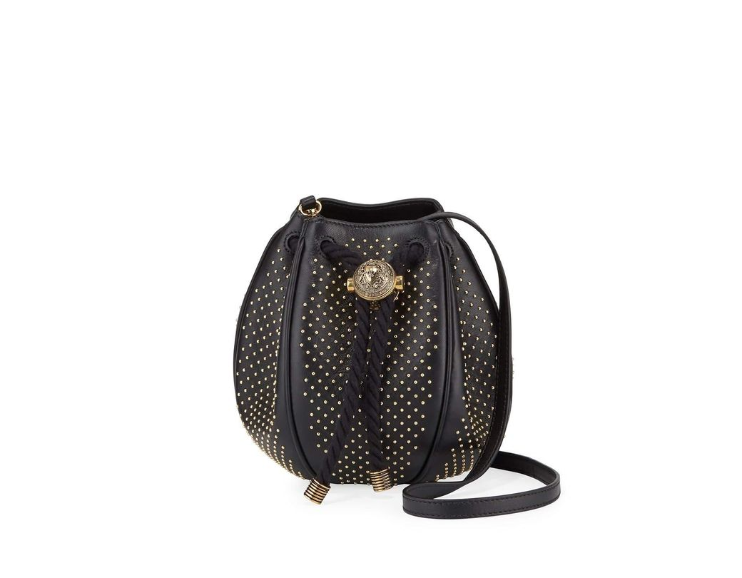 a64d700eabd Lyst - Balmain Mini B Studded Bucket Bag in Black