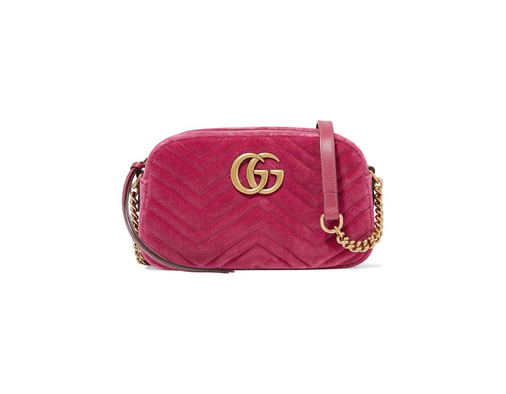 739936c62ba8 Gucci. Women s Pink Gg Marmont Camera Mini Leather-trimmed Quilted Velvet Shoulder  Bag