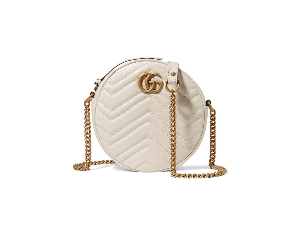ba0447555c8 Lyst - Gucci Gg Marmont Circle Quilted Leather Shoulder Bag in White