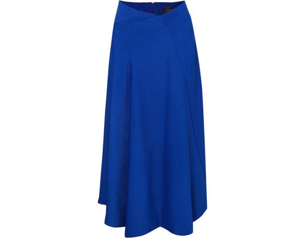 ddcce7a06 JOSEPH Percy Asymmetric Cady Midi Skirt in Blue - Lyst