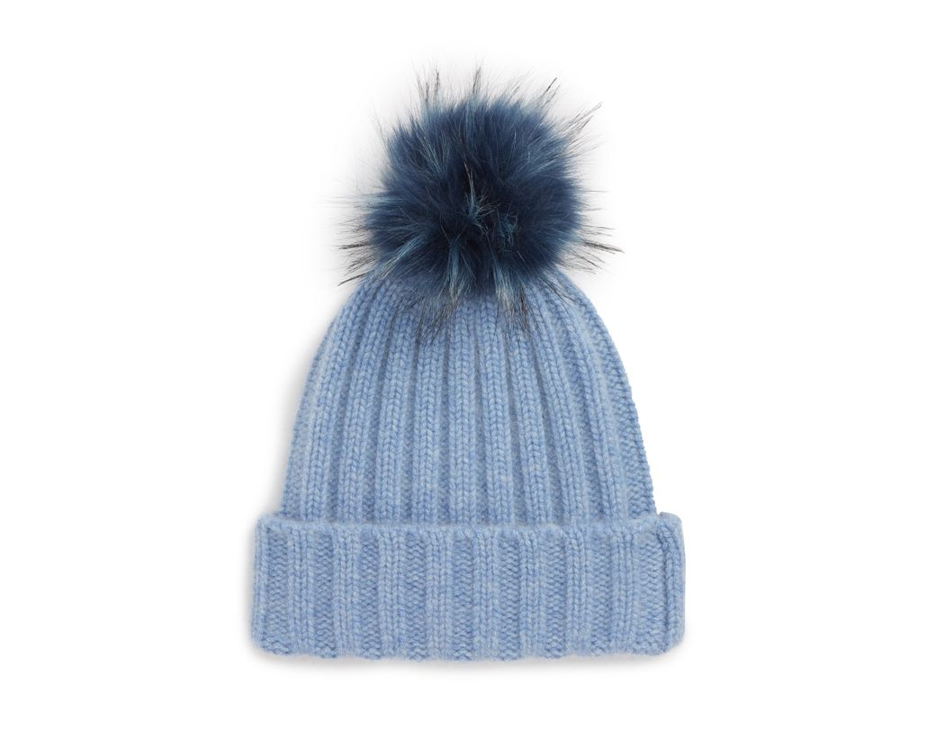89f5a85fb0388 Halogen. Women s Blue Halogen X Atlantic-pacific Cashmere Beanie With Faux  Fur Pom