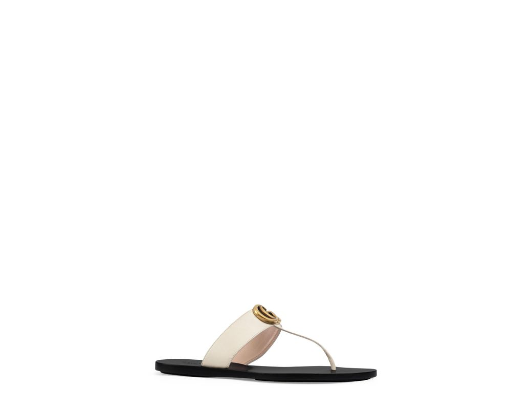 10e6ba287de9 Lyst - Gucci Leather Thong Sandals With Double G in White - Save 22%