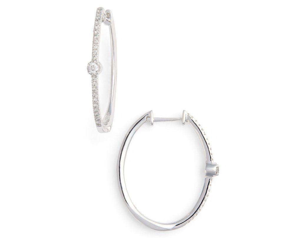 0b963cf2ca5183 Bony Levy. Women's Metallic Mila Diamond Station Hoop Earrings ...