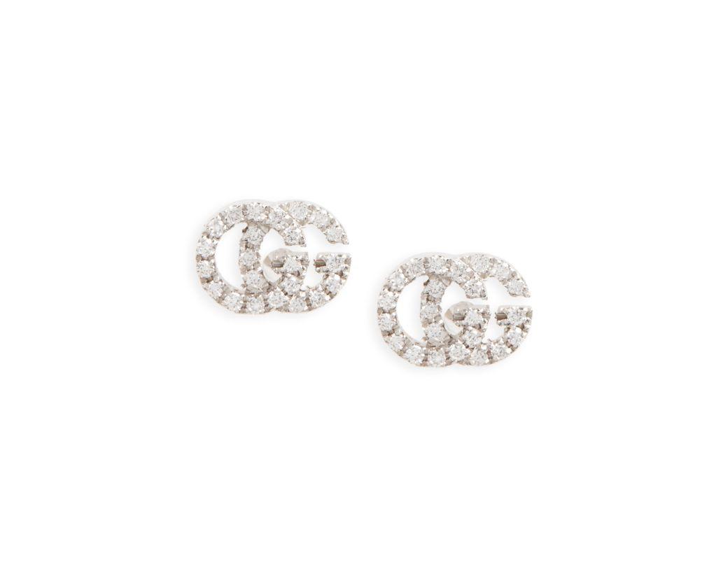 03c4c92d369 Lyst - Gucci Double-g Diamond Stud Earrings in Metallic