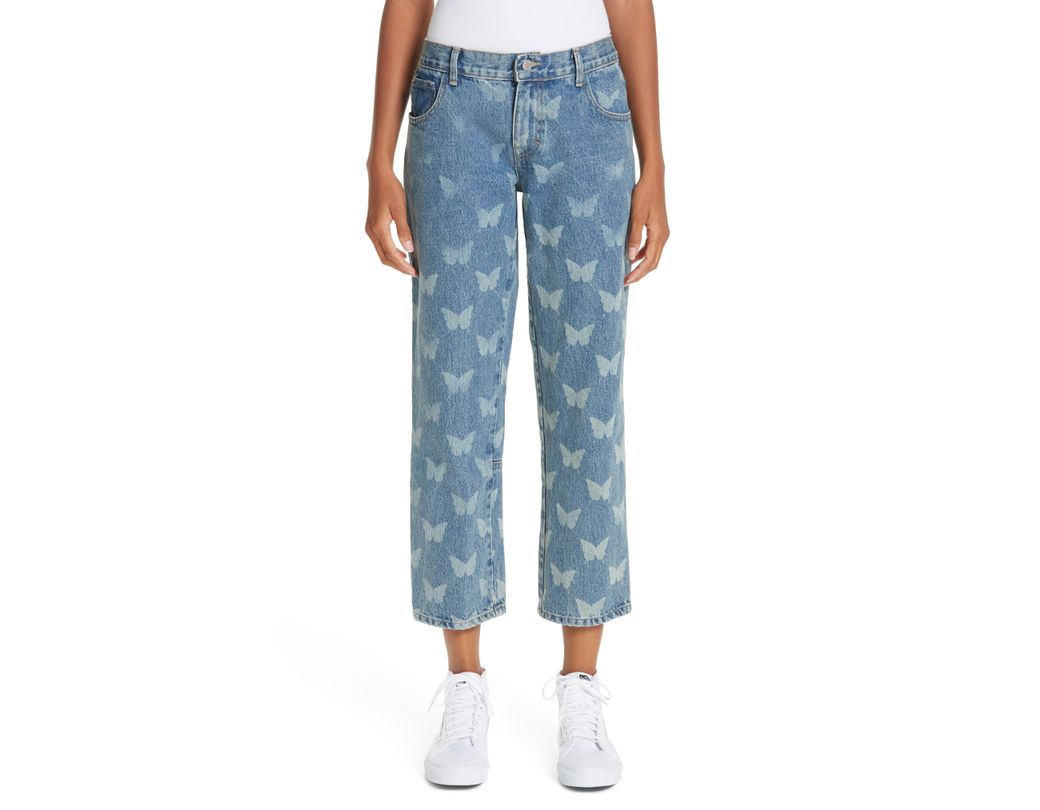 882704ed9f0ce Long-Touch to Zoom. Long-Touch to Zoom. 1; 2. Sandy Liang - Blue Mariah Butterfly  Crop Jeans ...