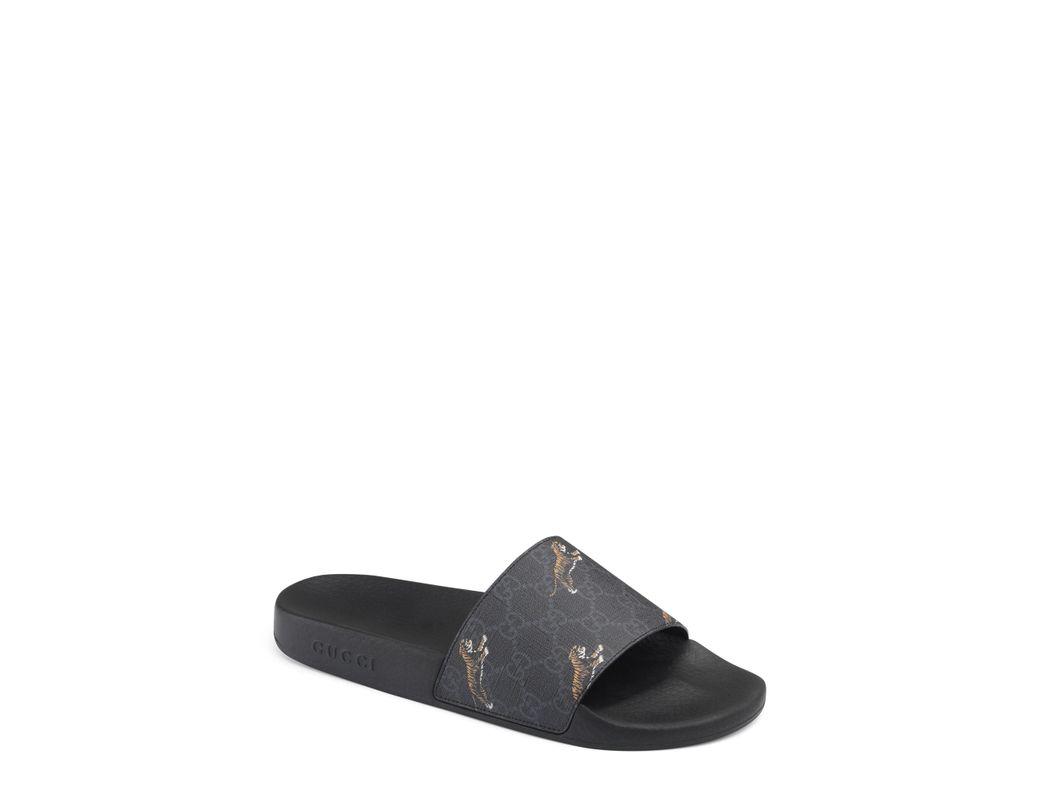 3d61ea614d2 Lyst - Gucci Pursuit Tiger Print Slide Sandal for Men