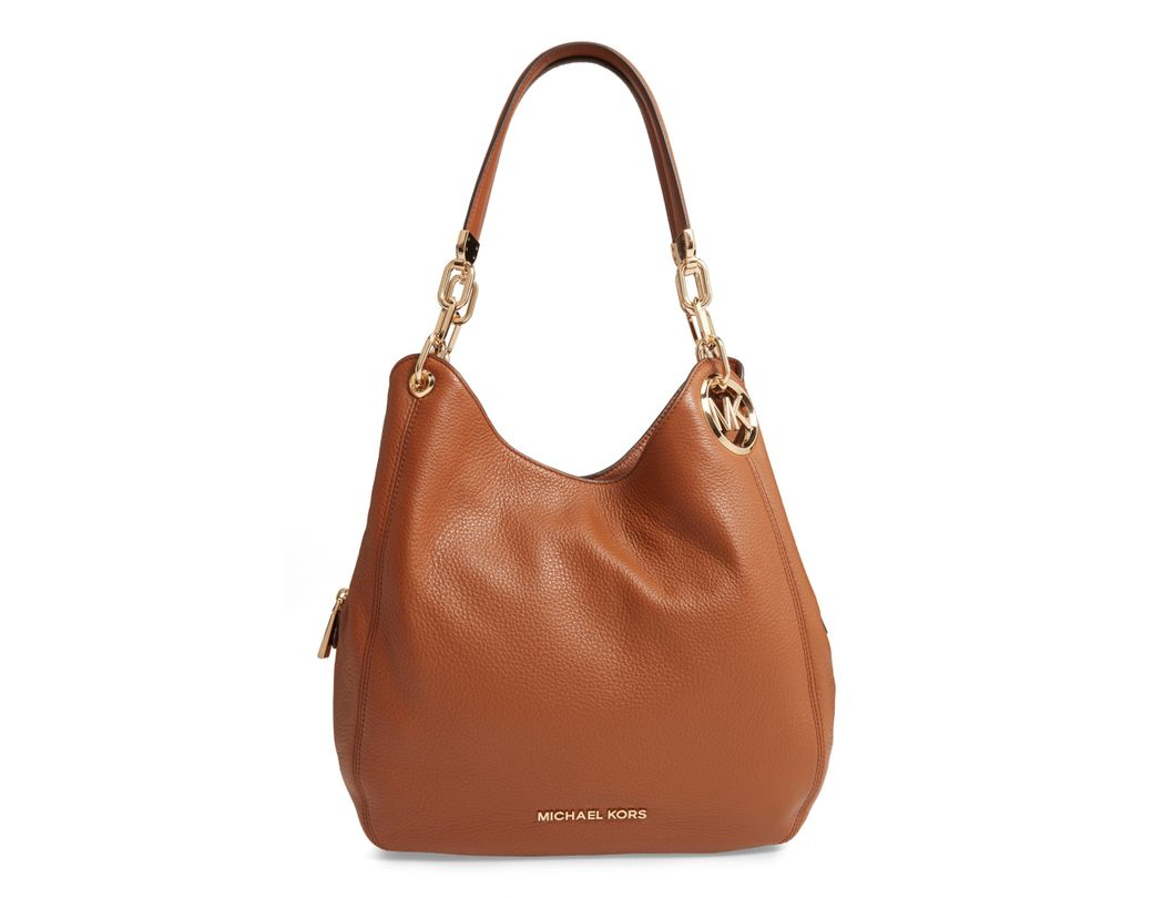 a2e7da217496 Lyst - Michael Kors Lillie Large Pebbled Leather Shoulder Bag in Brown